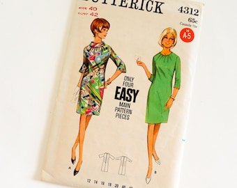 Vintage 1960s Womens Size 40 One Piece Semi-Fitted Dress Butterick Sewing Pattern 4312 FACTORY Folds,  b42 w34