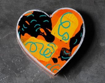 OOAK Orange Black Yellow Wooden Heart Magnet Hand Painted