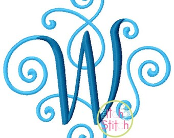 """Elegant Scroll Two Color Embroidery Font 2.0"""", 3.0."""", 4.0"""" & 5.0""""  Letters in four sizes,  INSTANT DOWNLOAD now available"""