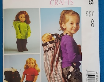 """McCall's Crafts MP323 18"""" Doll Clothes and Backpack"""