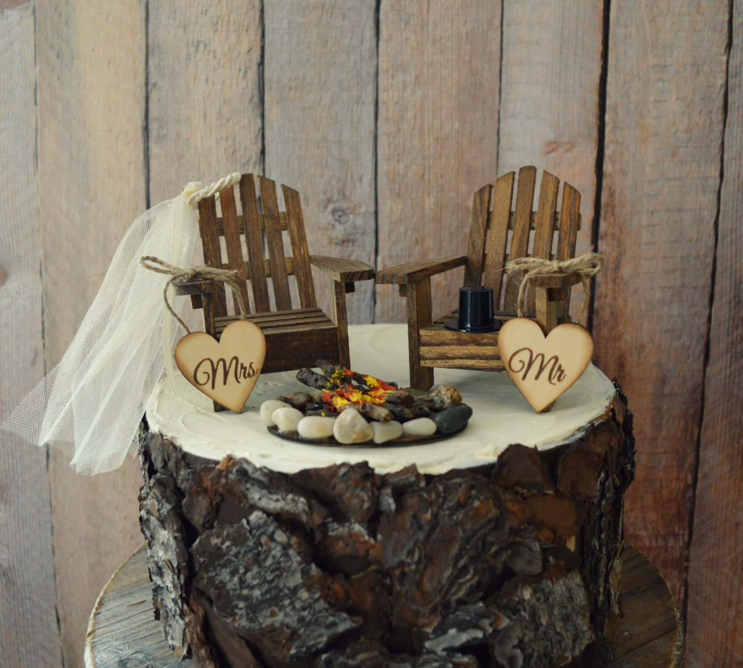 Country Adirondack Chair Wedding Cake Topper Camping Fishing