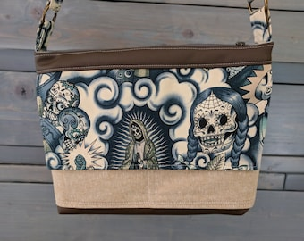 Sugar Skull Blue Tattoo LARGE Emma Traverse Contigo Guadalupe Cross Body Purse