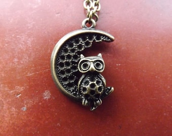 Moon and owl necklace.