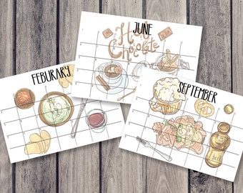 food calendar, fridge calendar, monthly calendar, monthly planner, desk decal calendar