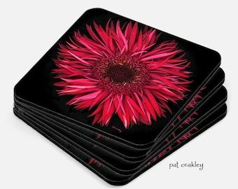 Scarlet Red Gerbera Daisy Coaster Set   Hostess Gifts