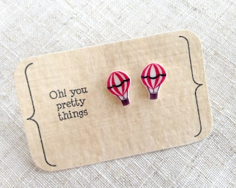 Hot air balloon earrings - Stud earrings - Balloon earrings - Summer earrings - Quirky earrings