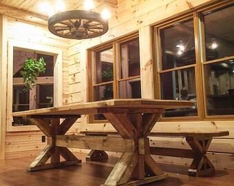 Farmhouse Trestle Table - Classic Rustic Design FREE SHIPPING