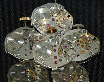 Vintage Watch Movements Parts Steampunk Altered Art Assemblage CD 40