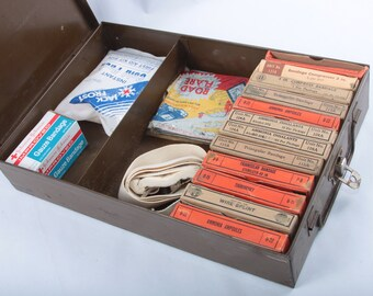 Antique WW2 First Aid Kit, FULL, Pittsburgh Mine Safety Appliances, Metal Box, Original Content, Gauzes, Ammonia Inhalants, Prop ~ 161130