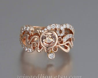 Rose gold engagement Etsy