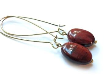 Red Tiger Eye Brass Kidney Wire Earrings