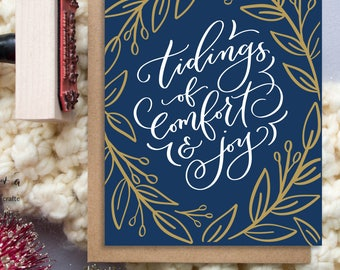 Set of 6 | Tidings of comfort & joy A2 Greeting Card, Christmas Note Card, Navy Christmas Card