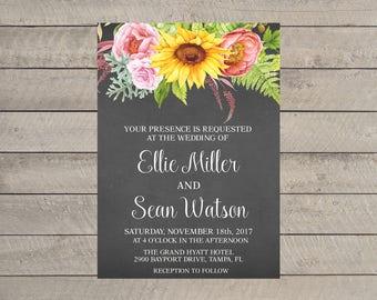 Rustic Shabby Chic Sunflower Wedding Invitation, Floral Wedding Invitation, Printable Wedding Invitation, Wedding Invite, Instant Download,