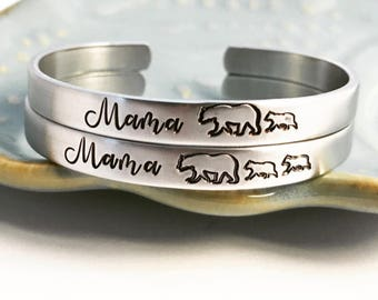 MAMA BEAR ~ Mother's Day Gift ~ Confidence Cuff ~ Mom Momma ~ Custom ~ Stacking Bracelet ~ Mother ~ Mommy ~ Baby ~ Little ~ For Her ~ HLJ