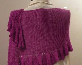 MOTHERSDAY Brilliant Magenta Ruffled Silk/Wool Stole