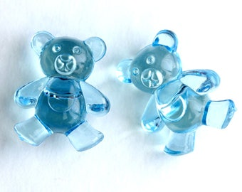 Two (2) Blue Clear Lucite Teddy Bear Buttons. Blue Buttons. Acrylic Buttons. Blue Teddybear Buttons.  25mm x 21mm