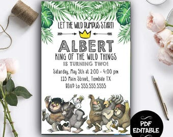 Where the Wild Things are Instant Download, Where the Wild Things are Party, Where the Wild Things are PDF Editable Template, Where The Wild