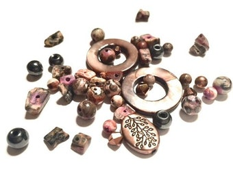 Supplies - Lot of Shell and Stone (and more) Beads in Shades of Purple, Brown, Silver, Black