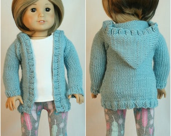 """American Made for Girl Doll, Hand Knit Sweater, Blue Sweater,  18"""" doll clothes, Hand Knit Clothes, Spring Sweater, Doll Sweater, Hoodie"""