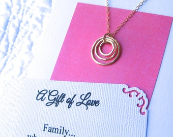 GRANDMA NECKLACE 14k Gold Fill Grandmother Gift 3 Generations Family Jewelry POEM Card Incl. Grandmother Jewelry Sterling Silver or 14k Gf