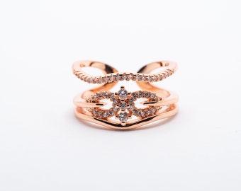 Aria I Adjustable Zircon Rose Gold Ring I Minimalist Ring I Stackable Ring I Gift for Her I Adjustable Ring