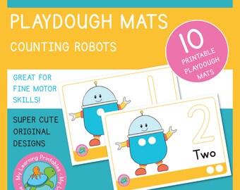 Playdough Mat - Robot Counting