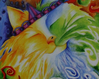 """Cat Abstract Fine Art Giclee Print  Not Framed 5""""x5"""",  6""""x6""""  or  8"""" X 8"""" """"Fuzzy"""" royal cat, colorful cat, cat with crown,"""