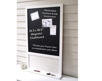 Magnetic Chalkboard Magnet Board Message Center 26.5 x 38.5 Bulletin Board Handmade Frame Ledge Shelf for Keys Chalk Pen Rustic Black White