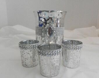 Mercury glass candle holder mercury votive, Wedding centerpiece, wedding decoration for reception tables, candle holder, flower vases