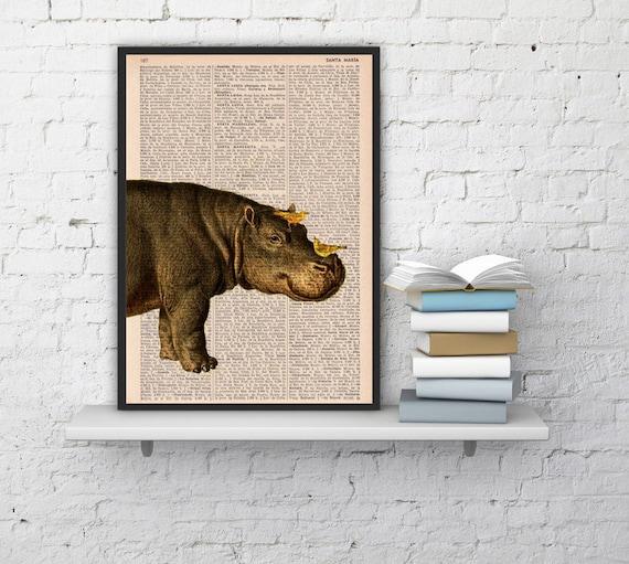 Wall decor Hippo and Yellow birds, Print -  Home decor altered art on upcycled book hippoputamus  ANI014b
