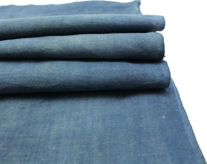 Japanese Indigo Cotton. Artisan Aizome Boro Textile. Blue Vintage Folk Fabric (Ref: 1768D)