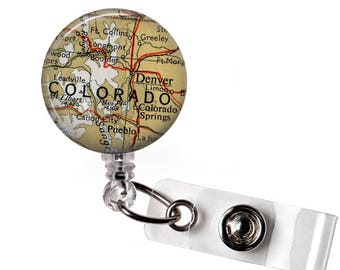 Nurses Gift, Colorado Badge Reel ID, Retractable Badge, Medical ID Badge, Retractable id tag, Denver gift, ID Card Holder, Name badge holder