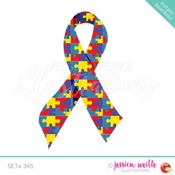 autism awareness ribbon cute digital clipart autism awareness rh etsy com Autism Awareness Logo Autism Symbol