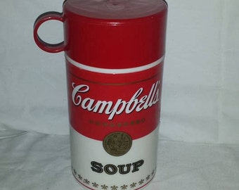 Campbells Soup Thermos, Insulated Food Storage Container, Thermos Jar, Campbells Soup, Red Thermos, Vintage Campbells Soup Thermos