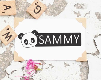 Children's Name Stamp, Name Self-Inking,  Kids Name Stamp, Panda Stamp, Personalized Name Stamp, Custom Rubber Stamp- 10245