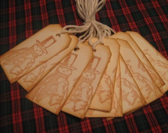 Hand Made Snowman  Gift Tags, Holiday Snowman Gift Tags,Gift Tags