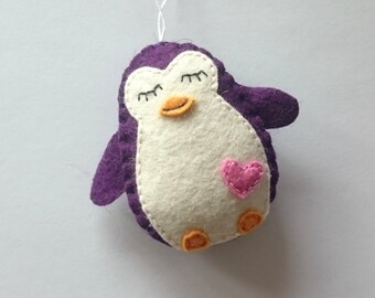Purple penguin felt ornament - party supplies Baby shower - handmade nursery decor for kids room - Christmas decoration for boys - wool