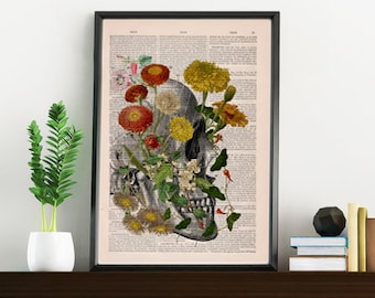 Decorative Art, Flowers on Skull ,Nature Inspired Print, Decorative Art, Wall hanging Skull print, Art flowers  SKA094