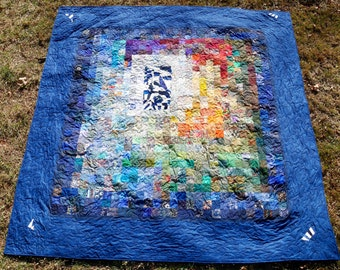 """Title """"Landscape with Inset"""" Queen size bed quilt"""