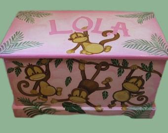 Monkey Toy Chest Custom Designed, kids room decor, original art, hand painted, personalized toy box