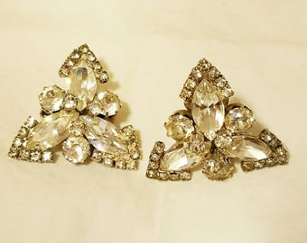 WEISS - Dope Vintage Triangulation. Clip Earrings. Covered in bling. Complimentary Shipping.