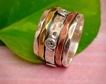 Spinner Ring  Silver Meditation Ring, Handmade  Statement Ring Anxiety ring Fidget Ring, Wide Band and Ring, Worry Ring