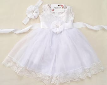 Rustic flower girl lace dress Baby girl lace dress Baptism dress Christening dress White lace dress White flower girl dress White dress