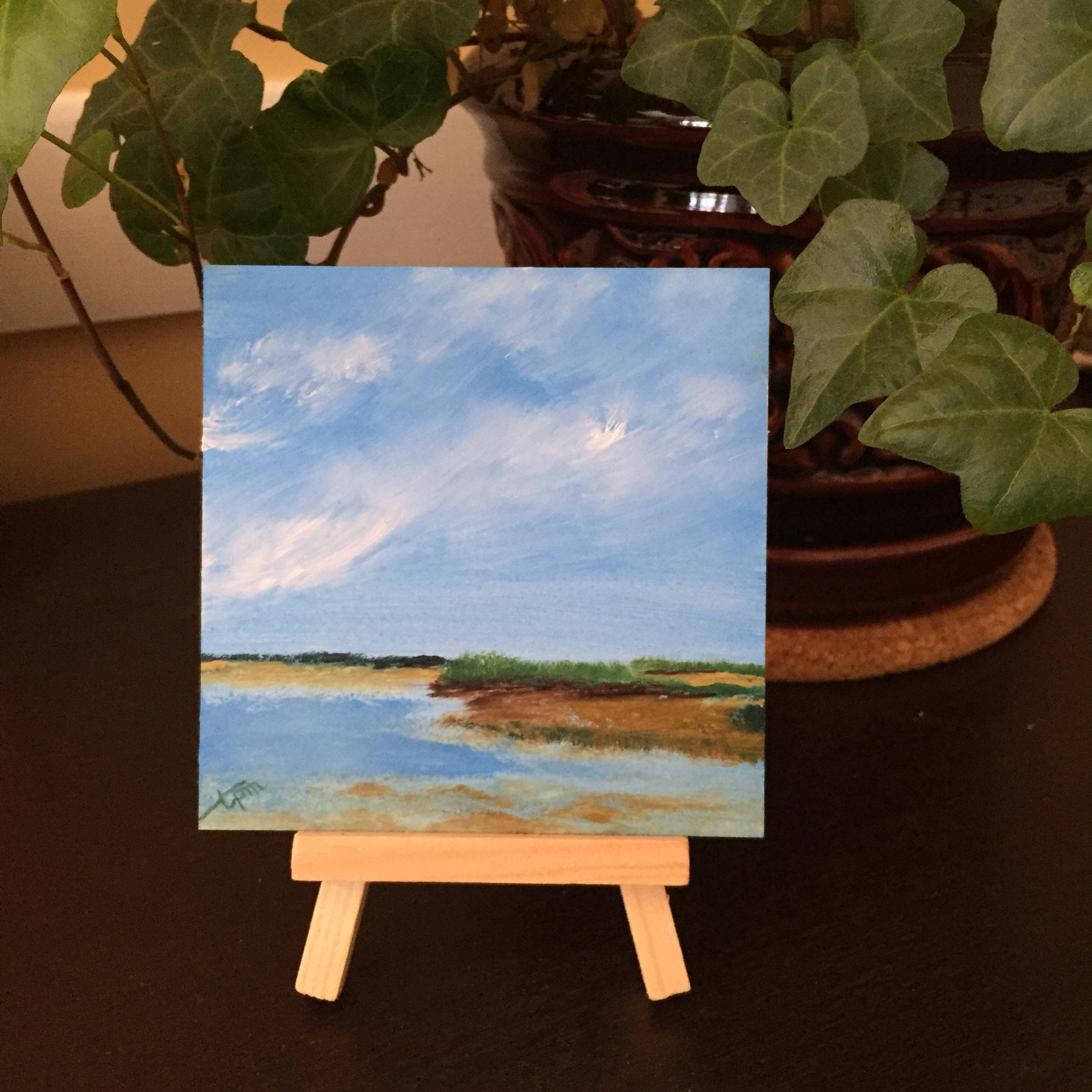 Skaket Beach At Low Tide 4x4 Mini Painting