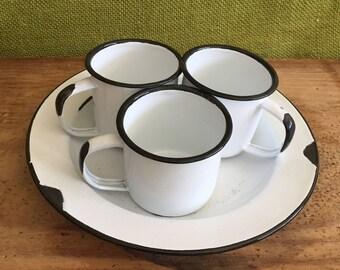 Set of 4 Vintage Styled Enamel Bowl and Mini Cups/Mugs~Farmhouse Decor