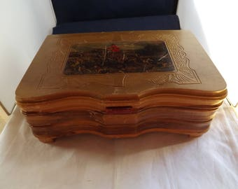 Vintage Wooden Jewelry Box With Mirror