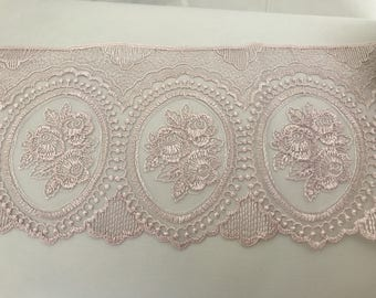 14 cm approximately old powder pink tulle lace Ribbon