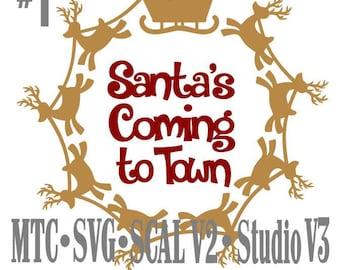 SVG père Noël traîneau avec renne cercle Design #01 avec des pères Noël arrive en ville couper fichier MTC SCAL de découpe Cricut Silhouette