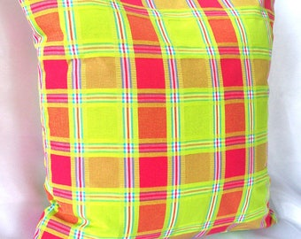 Yellow plaid pillow cover, Plaid pillow pink yellow, Tartan pillow, Throw pillow, Decorative pillow, Accent pillow, Throw cover, Plaid decor
