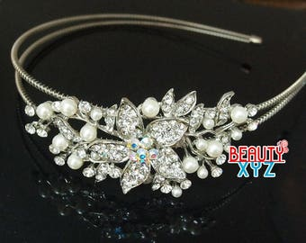 Silver Wedding Crystal pearl flowers Headband hair piece for party